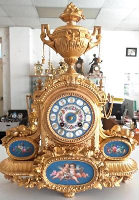 Beautiful Antique French 1855 Japy Freres Gilt & Sevres Porcelain Mantle Clock