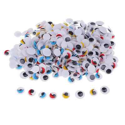 200x Mixed Size Googly Eyelash Wiggle Googly Eyes for Dolls Making 10mm 12mm