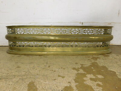 """Antique Brass Fireplace Pierced Reticulated Fender Lyres Music Design 32"""" Wide"""