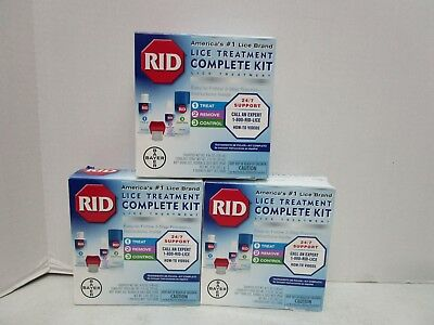 3 Rid Lice Treatment Complete Kits 4 Items Each Box - Expire 09/18 Mm 11731