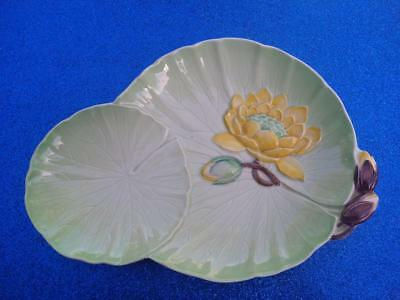 Vintage Carlton Ware Australian Design Green Dish with Yellow Water Lily