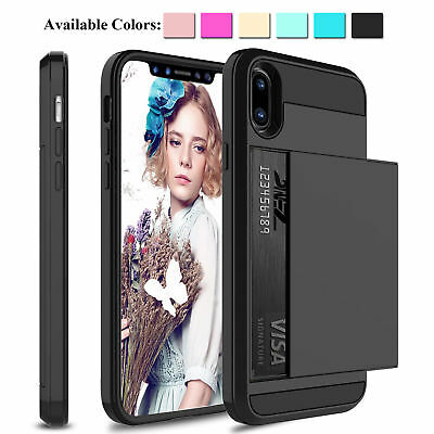 For Apple iPhone Xs Max/Xr/X Shockproof Hard Case With Wallet Credit Card Holder