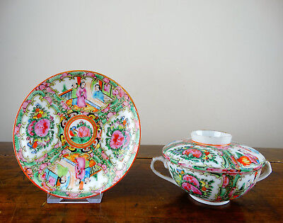 Antique Chinese Canton Export Porcelain Famille Rose Soup Rice Bowl & Saucer
