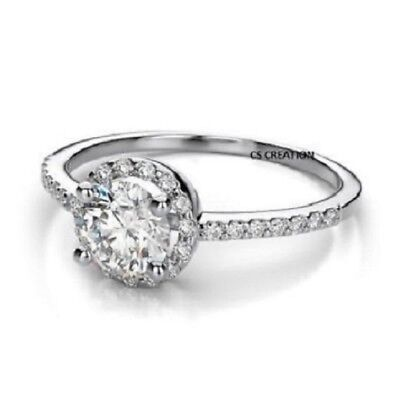Certified White 2 Ct Round Cut Solitaire Diamond Engagement Ring 14K White Gold