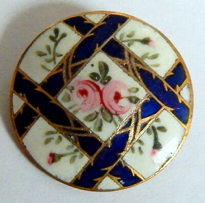 ANTIQUE FRENCH VICTORIAN COBALT & WHITE CHAMPLEVE ENAMEL BUTTON w/PINK ROSES