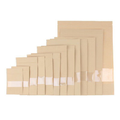50X Kraft Paper Window Bag Stand up Pouches Dried Food Packaging Zipper Bags