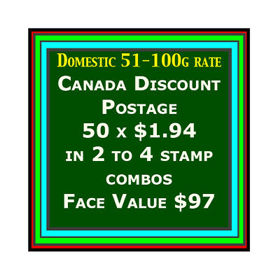 CANADA DISCOUNT MINT POSTAGE 2-4 Stamp Combo 50 x $1.94, Face Value $97 Free S/H