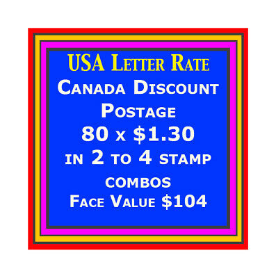 CANADA DISCOUNT MINT POSTAGE 2-4 Stamp Combo 80 x $1.27 Face $101.60, Free S/H