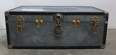 Vintage Industrial Metal Mossman London Travel Trunk- Storage Chest (287)