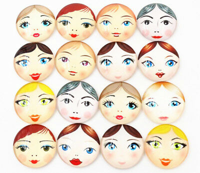 25mm Handmade Glass Cabochons | Doll Face Design | 10pcs Mixed