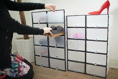 Periea Men's Front Opening Frosted Plastic Shoe Drawers Boxes Storage Black Grey