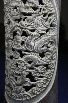 Finely Carved Chinese Bamboo Brush Pot Republican