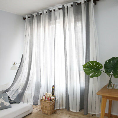 Modern Stripe Plain Window Curtain Tulle Voile Drape Panel Sheer Valances 1x2.5m