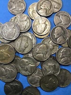ONE ROLL of 40 SILVER JEFFERSON WAR NICKLES MIXED DATES AND MINTS 35% SILVER
