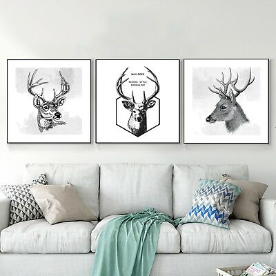 Abstract Elk Art Black White Paint Nordic Silk Canvas Poster Decor Unframed A471