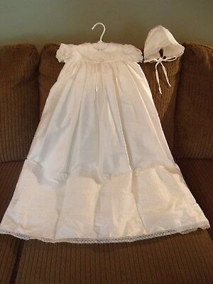 WILL BETH WILL'BETH GORGEOUS LONG SILK CHRISTENING GOWN & BONNET 0-6 Months