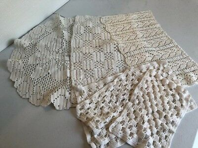 VINTAGE Hand Made OFF WHITE/CREAM/WHITE CROCHET LACE DOILY - Lot of 6