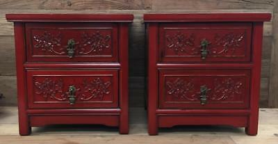 Set of Two Chinese Red Hand Carved Square Side / End Tables / Night Stands