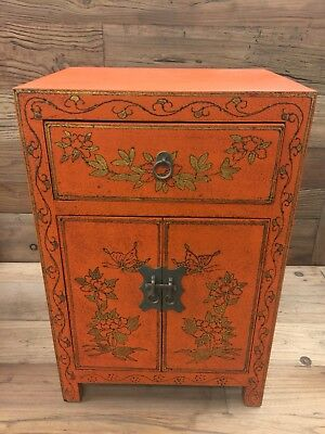 Vintage Chinese Lacquered End Table Cabinet 24 inch Tall
