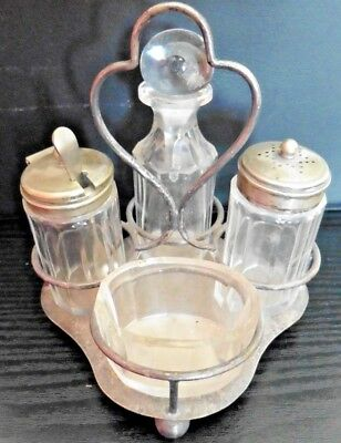 Vintage 4 piece Condiment Set EPNS