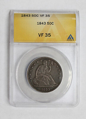1843 Seated Liberty Half Dollar ANACS VF35 * Very Fine +++ Looks Under Graded