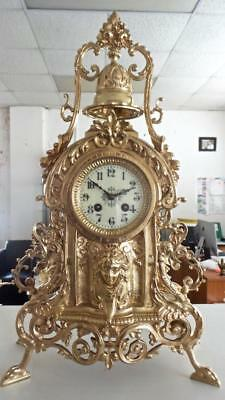 Antique Large French 19th c Gilt Bronze Bell Top Mantle Clock by Japy Freres