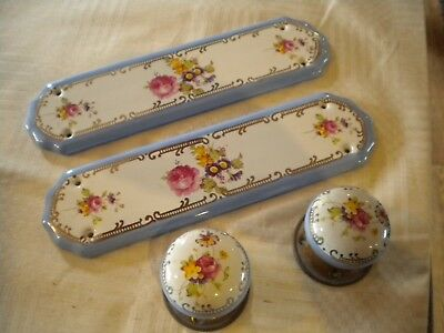 Antique Vintage Ceramic Porcelain Door Handle Knobs & Finger Plates Blue Floral