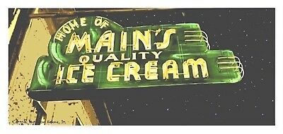 Carroll Kehne's digital painting of Main's neon old Ice cream sign