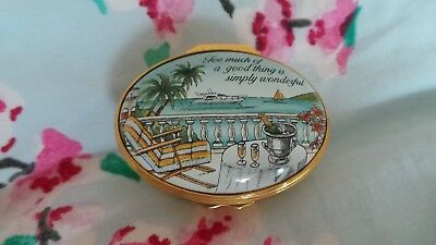 Halcyon Days Enamel Box ~ 'Too Much Of A Good Thing Is Simply Wonderful'