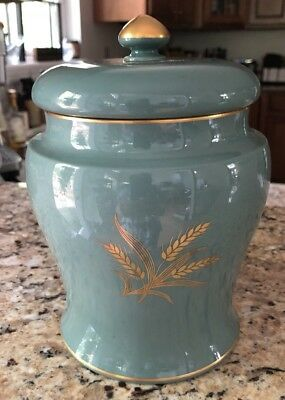 Vintage Lenox Green Mark Large Covered Jar/Humidor? Gold Wheat Design And Trim