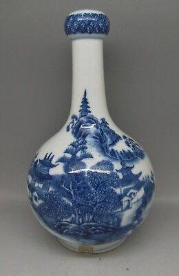 Antique Chinese Porcelain Vase Blue And White Garlic Neck Hand Painted Canton