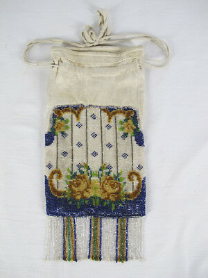 Antique Native American Indian Floral Beaded Tobacco Pouch Bag Bead Fringe 2 yqz