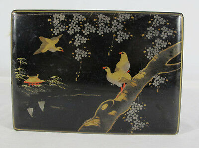 Japan Trade Lacquer Painted Jewelry Keepsake Letter Box Chest Coffer Mt Fuji yqz