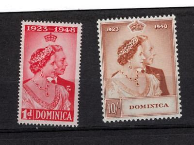 Dominica 114-115, 1948 silver wedding VFMLH cv $25.25