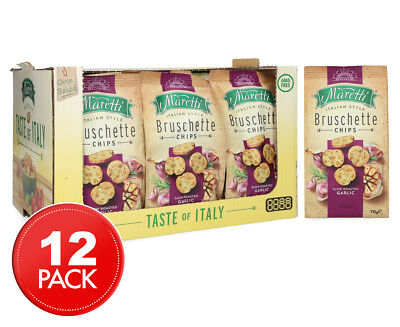 12 x Maretti Bruschette Chips Slow Roasted Garlic 70g