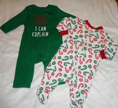 Lot Clothes Old Navy Romper Sleepers Footed Pajamas Christmas Outfit Size 0-3 Mo