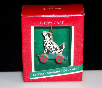 New in Box! Vintage 1989 Hallmark Christmas Ornament  Puppy Cart Wooden Toy Mini