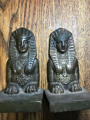 Antique Vintage Egyptian Revival Sphinx Bookends Cast Iron Scuptures