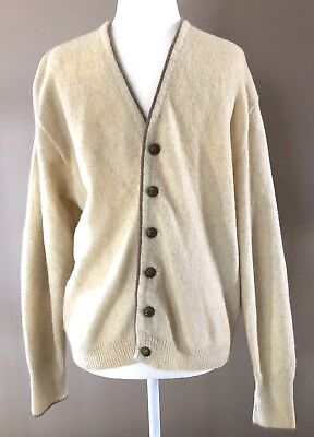VTG Puritan Cardigan Sweater Cream Leather Elbow Patches Mens M Wool Blend