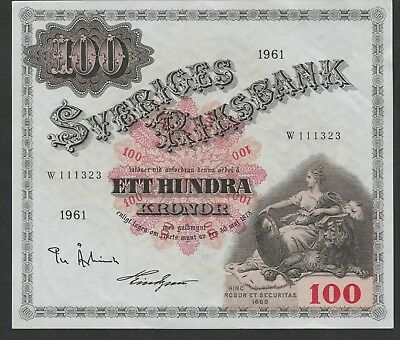 100 Kronur From Sweden 1961 Strong XF