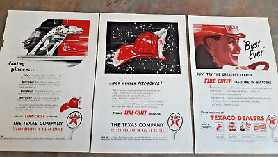 7 Original Texaco Oil Ads / Advertising / Motor Oil / Fire Chief Gasoline