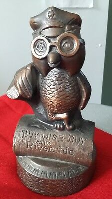 Vintage Wards Riverside Tires Ad Buy-Wise-Buy Owl Cast Iron Bank