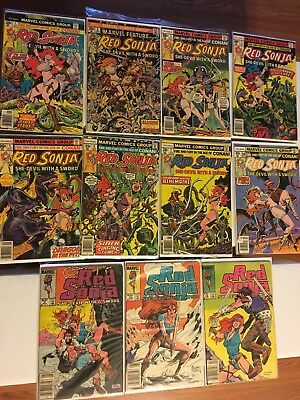 Marvel Feature#1-7, 10, Vf Lot 1975 9,10,12 Red Sonja Marvel Bronze Age Comics