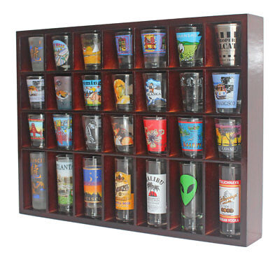 28 Shot Glass Display Case  Rack Wall Shelves Shadow Box Holder Cabinet, SC11-MA