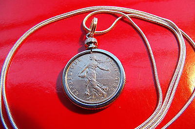 "Mint French Maiden Half Franc Pendant on a 30"" 925 Silver Snake Chain"