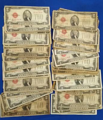 lot of 61-1928 $2 RED SEAL NOTES culls to circ.  L2456