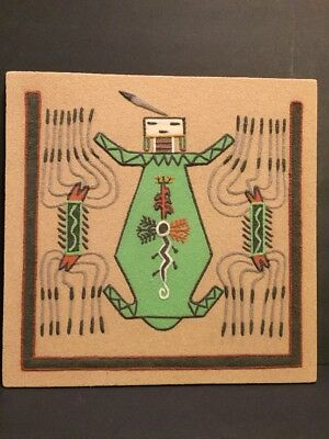 """NATIVE AMERICAN MOTHER EARTH NAVAJO SAND PAINTING 12"""" X 12"""" Signed"""