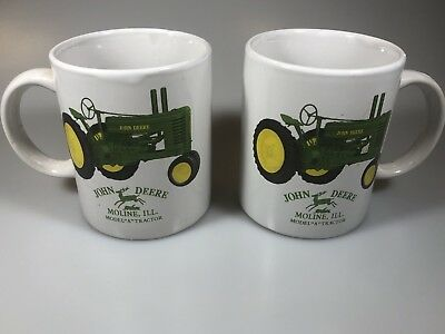 ☆ JOHN DEERE TRACTOR Coffee Mug Cup  Moline IL MODEL A Set of 2 Licensed F/SHIP