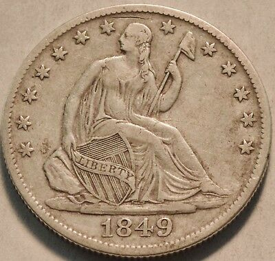 1849 O Seated Liberty Half Dollar, Higher Grade Better Date Silver 50C Type Coin