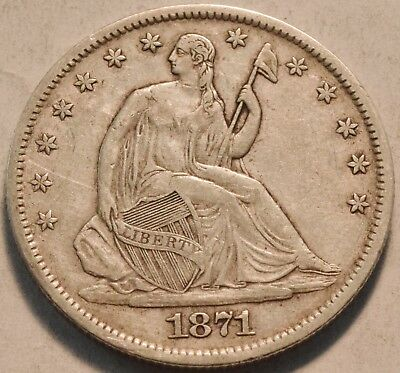 1871 S Seated Liberty Half Dollar, Higher Grade Better Date Silver 50C Type Coin